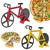 2 Piezas Cortador de Pizza, Rueda de Cortador de Pizza, Bicicleta Cortador de Pizza, Acero Inoxidable Corte Doble Cortapizzas Antiadherente con Soporte para Pizza, Pan, Galletas (Rojo, Amarillo)