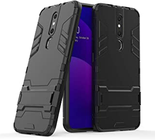 Oppo A7 Case - Heavy Duty Shock Proof Shield Hard Shell Back Case Cover Dual with Back Stand for Oppo A7 - Black