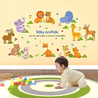 ufengke Baby Animals Wall Stickers Forest Elephant Giraffe Wall Art Decals Wall Decor for Kids Bedroom Nursery Living Room