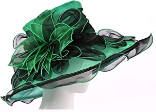 Organza Fascinator Hats Church Tea Party Bridal Wedding Cap for Womens,GreenBlack