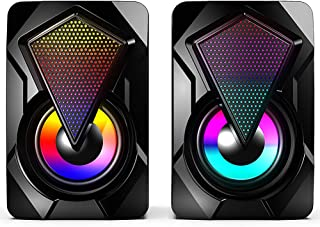 Computer Speakers,Wired PC Speaker 2.0 USB Gaming Powered Stereo Mini Multimedia Volume Control with RGB Lights 3.5mm Aux ...