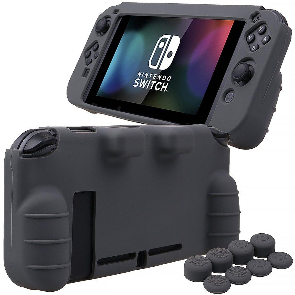 Pandaren® silicona Empuñadura Protector funda protectora para Nintendo Switch consola(gris) + Joycon empuñaduras de pulgar thumb grips x 8: Amazon.es: Videojuegos