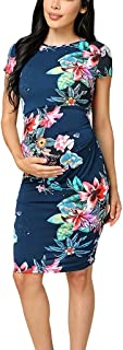 Forthery Maternity Dress,Women's Mini Party Fashion Short Sleeve O-neck Long Printed Foral Maxi Dress Sheath dress