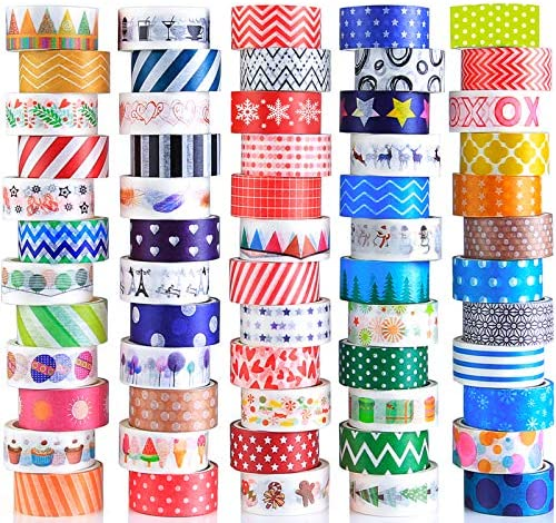 60 Rolls Washi Tape Set Decorative Colored Tape for Scrapbooking Supplies Bullet Journals DIY product image