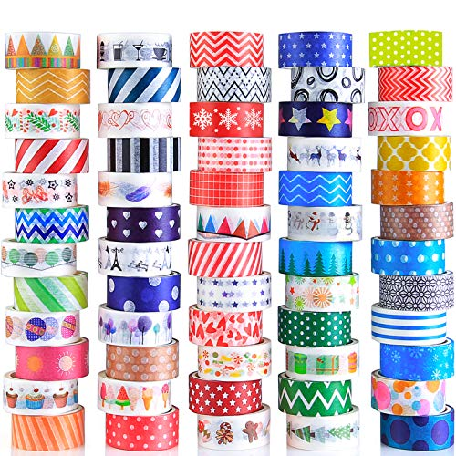 60 Rolls Washi Tape Set Decorative Colored Tape for Scrapbooking Supplies Bullet Journals DIY Craft Gift Wrapping Planners Cute Washi Tape for Kids and Аdults 15mm Wide