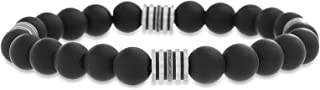 Steve Madden Stainless Steel Rondelle Beaded Stretch Bracelet for Men