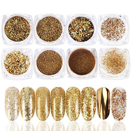 Macute Gold Nail Glitters 8 Colors Metallic Nail Art Sequins for Women Fingernails and Toenails Beauty Designs Manicure Tips Charms Face Decoration Kit Body Accessory Shining Flakes