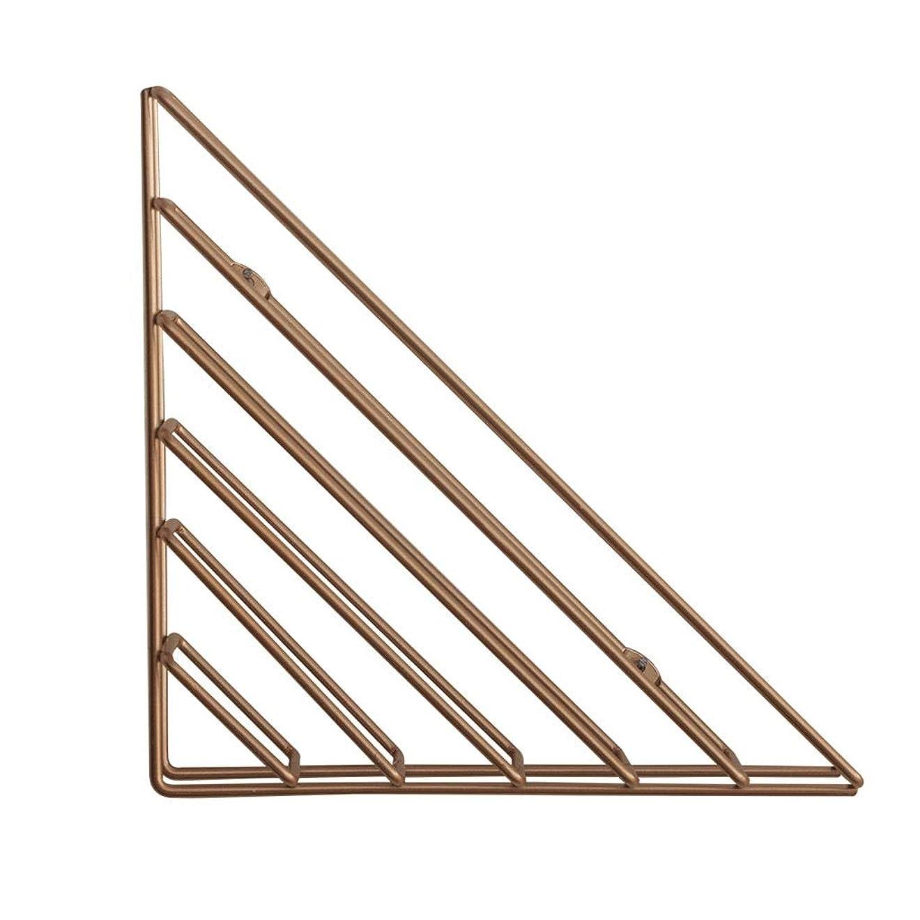 病者元気確かめる錬鉄製の三角形の壁掛け、壁掛け収納ラック、室内装飾、金属製の棚 - 16cmX6cmX16cm(ゴールド/ローズゴールド) (Color : Rose Gold)