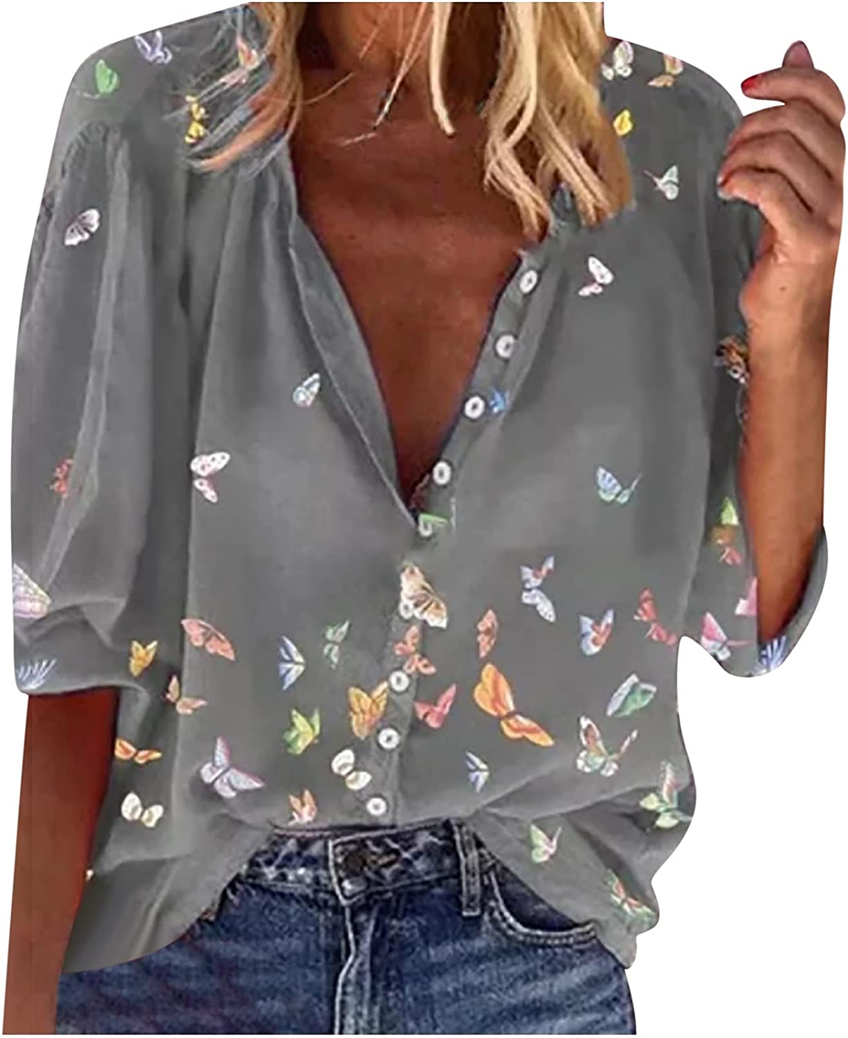 Spring Fall Casual Chiffon Blouse for Women O Neck Button Down Shirts Lantern 3/4 Sleeve Butterfly Print Tops