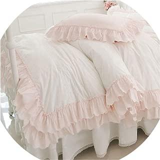 Barry-Story Beddings Princess Cotton Pink Ruffle Beding 4pcs Set Sweet Bows Duvetcover Bedskirt White Elegant Twin Size Bedding,Pink White,King