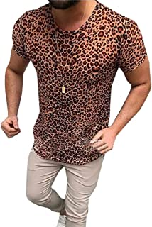 GAGA Men Round Neck Casual Pullover Pattern Printing Short Sleeve Tops T Shirt Blouse