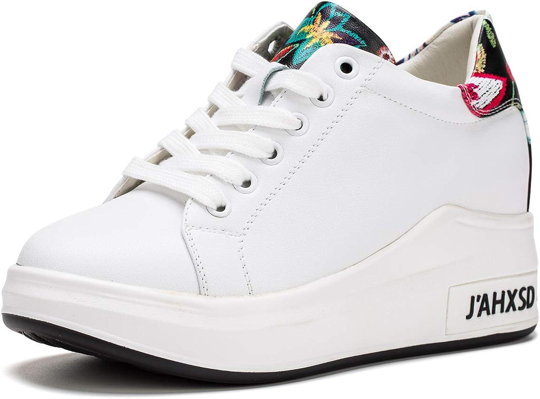 Jivana Women's Casual Platform Sneaker Hidden Heel Wedge shoes Lace-up