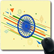 Ahawoso Mousepads for Computers Ashoka Green August Happy Independence Day India Holidays Democracy 15 Abstract Chakra Celebration Oblong Shape 7.9 x 9.5 Inches Non-Slip Oblong Gaming Mouse Pad