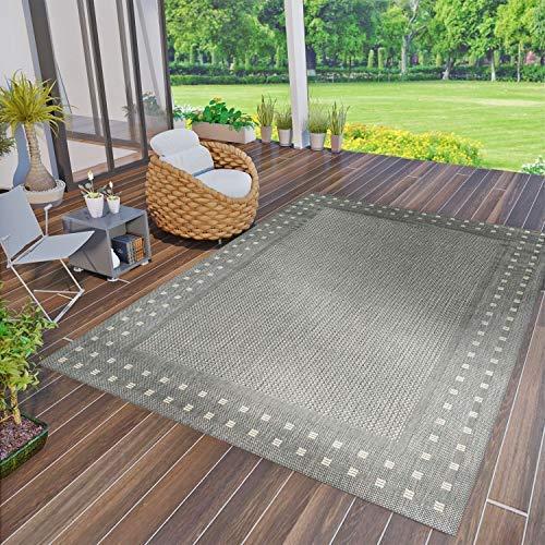 Vimoda robuust plat geweven tapijt geschikt voor binnen en buiten, 100% polypropyleen modern 140x200 cm grijs