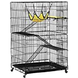 Yaheetech 4-Tier Rolling Large Metal Wire Pet Cat Kitten Cage Crate Playpen Enclosure Indoor Ourdoor with 3X Ramp Ladders/2x Front Doors/1xHammock