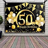 APERIL Decoración de Fiesta de 50 Cumpleaños de Oro Negro, Póster de Tela Cartel Extra ...