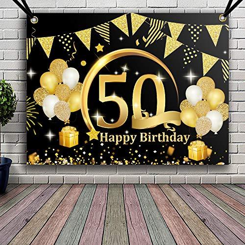 APERIL 50 Decorazioni di Compleanno Oro Nero, 50 Anni di Buon Compleanno Decorazione di Festa per Uomo Donna, Poster di Tessuto Sfondo Fotografico 50° Festoni Compleanno Feste di Compleanno