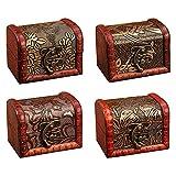Tucireat Cofre del Tesoro 4 Piezas Cofre Pirata Caja Madera Decorativa Caja de Madera...