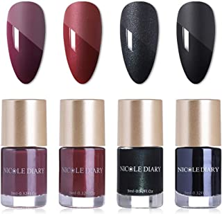 NICOLE DIARY Matte Nail Polish Set 4 Colors Red Black Glossy Matte Nail Paints Enamel Lacquer Kit Nail Polish for Nail Art
