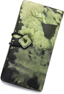 Genuine Leather Wallet for Women long Purse Slim Clutch vintage cowhide handmade Cash Card Holder Organizer (Green)