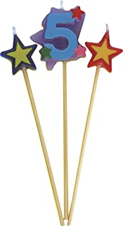 Unique Party 34045 - Number 5 Star Birthday Candles Set of 3