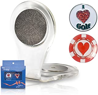 Golf Ball Marker Clip -Crystal heart Golf Marker For Women - Attach To Your Pocket Edge, Belt, Clothes - Strong, Easy To Use Magnetic Mechanism - Transparent Color To Match With Anything! Great Gift!