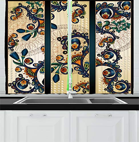 """Ambesonne Abstract Kitchen Curtains, Paisley Batik Floral Design Hand Drawn Ornament Artwork, Window Drapes 2 Panel Set for Kitchen Cafe Decor, 55"""" X 39"""", Navy Blue"""