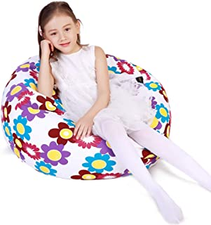 Stuffed Animal Storage Bean Bag Chair Cover for Kids and Adults, Storage Bean Bag with..