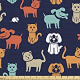 Ambesonne Animals Fabric by The Yard, Cartoon Style Cat Dog and Mouse Silhouettes Funny Characters on a Dark Background, Decorative Fabric for Upholstery and Home Accents, 1 Yard, Indigo Orange