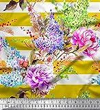 Soimoi Gelb Seide Stoff Streifen, Lavendel & Pfingstrose