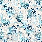 Dekostoff Canvas Maritime Collage – blau/türkis —