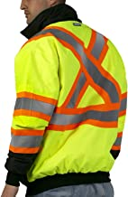 JORESTECH Safety Bomber Jacket Waterproof Reflective High Visibility Yellow/Lime with Detachable Hood X in Back ANSI Class 3 Type R CSA Z96-15 Class 2 Level 2 JK-06 (XL)
