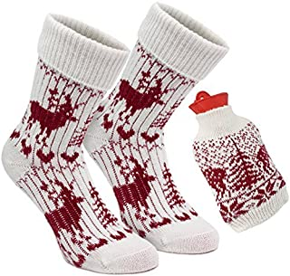 – Set de regalo para pies calientes, con calcetines de estilo noruego para mujer y botella de agua caliente con forro de punto a juego