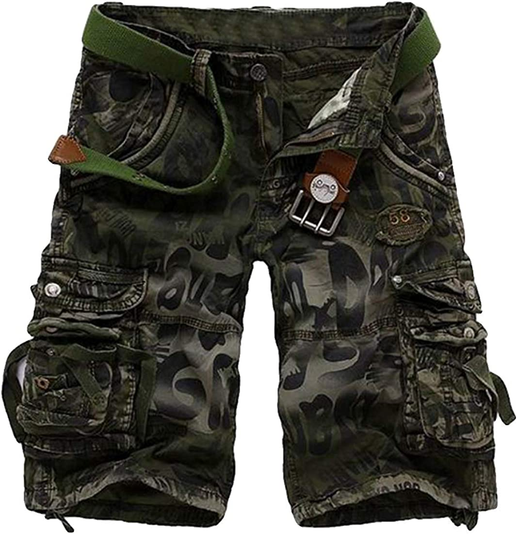 Fulision Men's Cotton Twill Cargo Shorts Camo Classic Fit Multi-Pockets Athletic Cargo Work Short for Hiking, Camping, Travel