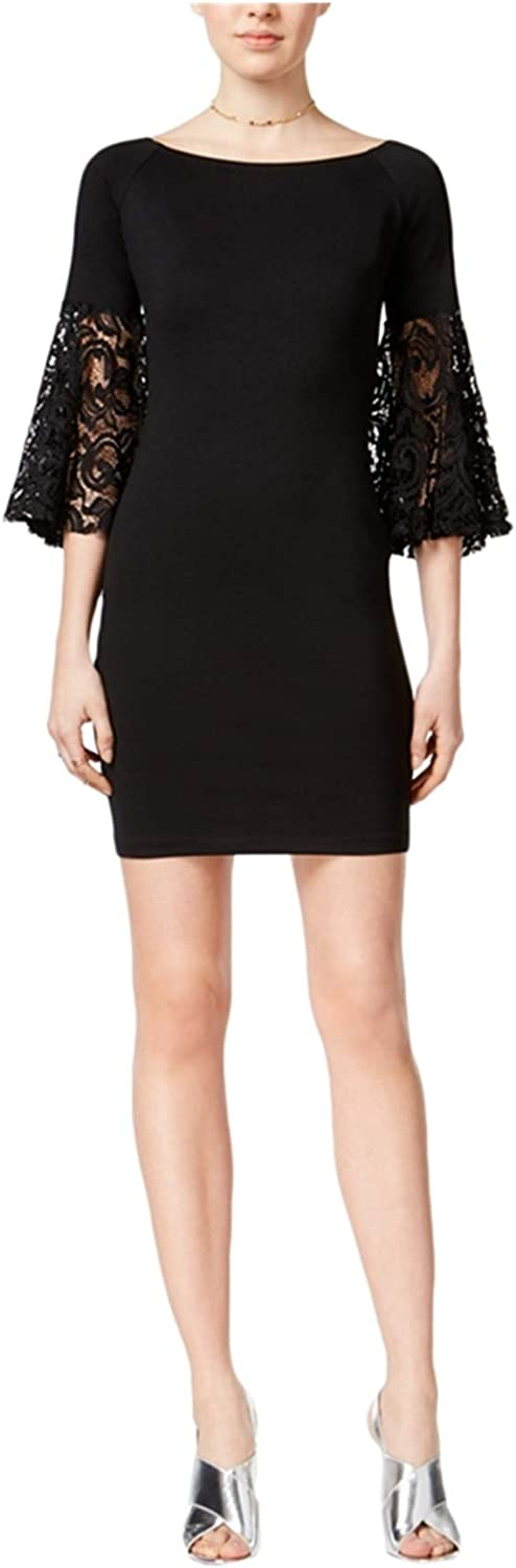 Bar III Womens Lace Sleeves OffTheShoulders Cocktail Dress