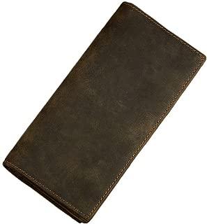 Men's RFID BLOCKING Vintage Look Genuine Leather Long Bifold Wallet Rfid Checkbook Wallets