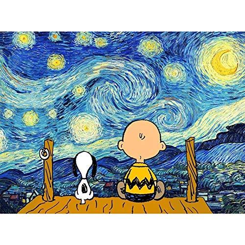 Puzzle Snoopy Van Gogh Starry Back To The Wooden 1000 Piezas De Juguetes Educativos para Niños Adultos Dibujos Animados 50 * 70cm(Size:1000pc)