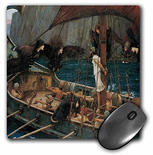 3drose LLC 20,3 x 20,3 x 0,6 cm Maus Pad, Odysseus und die Sirenen von John William Waterhouse (MP 127289 _ 1)
