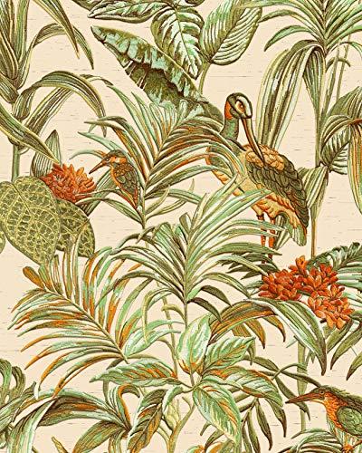 Vogel Tapete Profhome DE120013-DI heißgeprägte Vliestapete geprägt mit Vogel-Muster glänzend creme grün orange 5,33 m2
