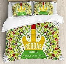 Juego de sábanas Rasta de 3 piezas Juego de fundas nórdicas, Reggae Music me hace sentir bien Guitarra icónica de la cultura jamaicana de la isla, juego de fundas de edredón / Qulit de 3 piezas con 2