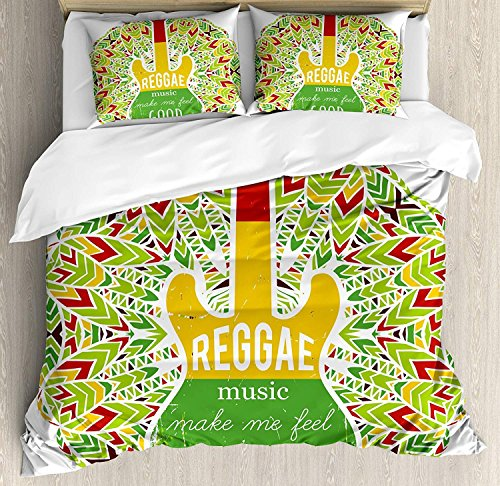 Juegos de cama Rasta, la música reggae me hace sentir bien Cita Guitarra icónica de la cultura de...