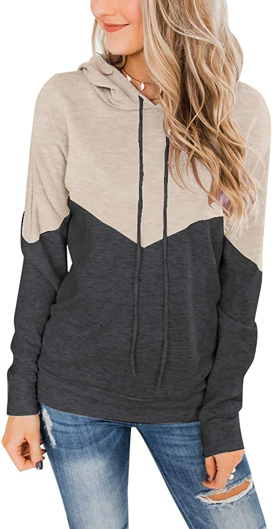 PRETTODAY Women's Long Sleeve Color Block Hoodies Casual Lightweight Drawstring Sweatshirts Loose Pullover Tops