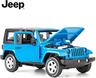 TGRCM-CZ Diecast Model Cars Toy Cars, Jeep Wrangler 1:32 Scale Alloy Pull Back Toy Car with Sound and Light Toy for Girls and Boys Kids Toys (Blue)