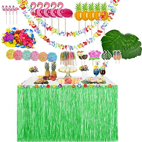 YQing 139 Piezas Hawaiano Luau Falda de Mesa Set de decoración, Decoración de Fiesta Tropical de 9.6FT con Hojas de Palma Flores Hawaianas Decoraciones de Mesa de Fiesta Tiki de Verano