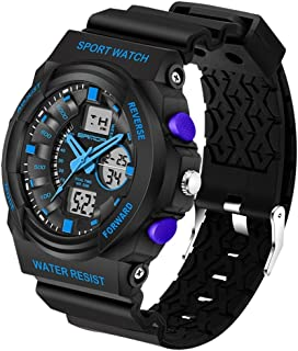 Songlin@yuan 5297 LED Night Light Display and Stopwatch & Alarm Clock and Date and Week Function Men's Quartz + Digital Dual Sports Watch with Plastic Belt Fashion (Color : Blue)