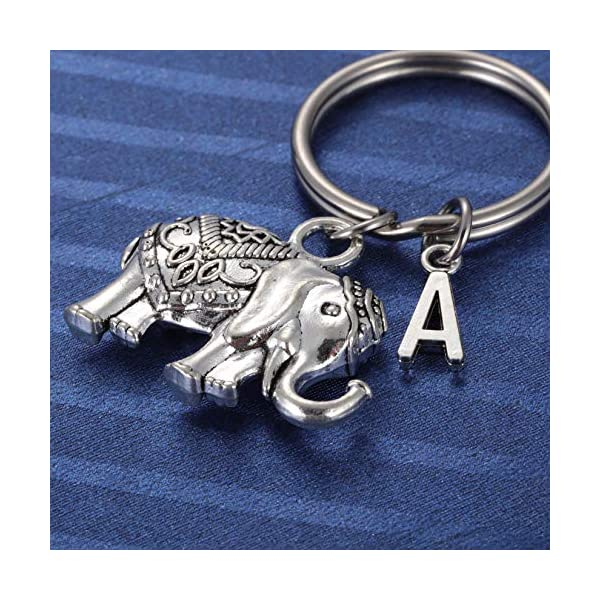 Initial Elephant Charm Keychain Elephant Keyring Elephant Lover Accessory Strength Friendship Gift for Girls Women