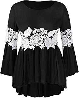 Women Sweatshirt Pgojuni Women Plus Size Flare Sleeve Floral Lace Tops Pullover