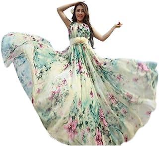 3759eb688a Medeshe Women's Chiffon Floral Holiday Beach Bridesmaid Maxi Dress Sundress