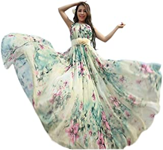 Medeshe Women's Chiffon Floral Holiday Beach Bridesmaid Maxi Dress Sundress