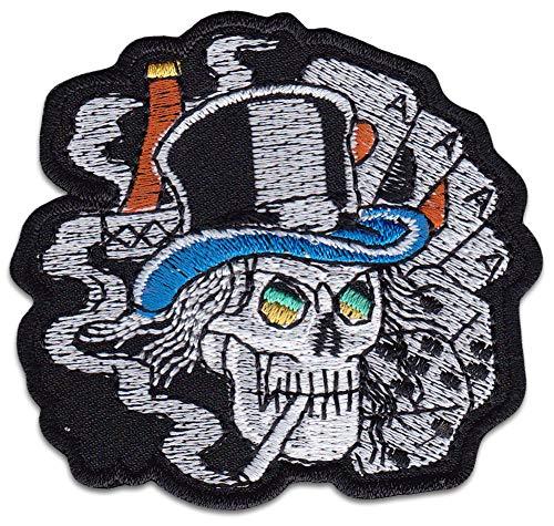 Gras doodskop kaarten cilinder patch opstrijkapplicatie Klein zwart